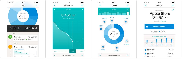 Screenshots from Tink app