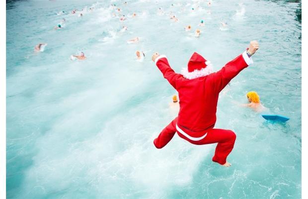 Santa swimming