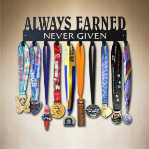 Source https://www.etsy.com/listing/127905021/always-earned-never-given-running-medal